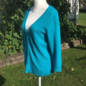 Christopher & Banks Petite turquoise lacy cardigan